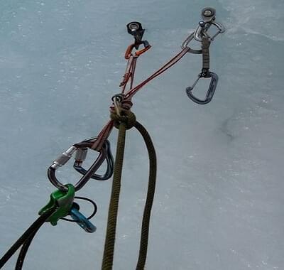 Gebruik meerdere ijsschroeven bij het maken van een tussen zekering of standplaats