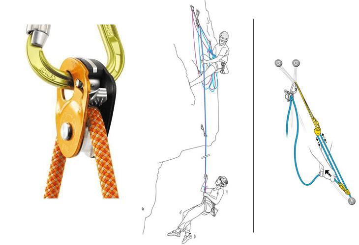 Sommige katrollen kun je fixeren op een touw zodat je flexibeler bent in gebruik