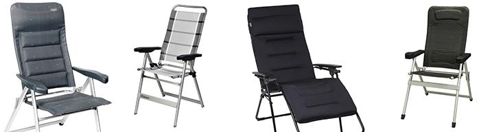 Verschillende soorten campingstoelen