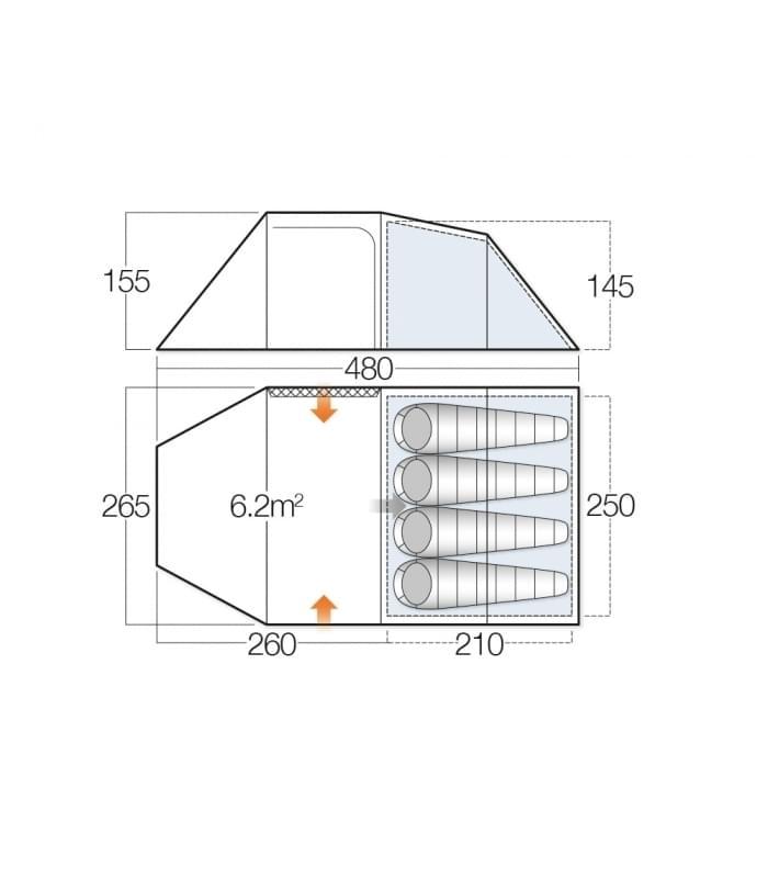 Vango Beta 450 XL / 4 Persoons Tent