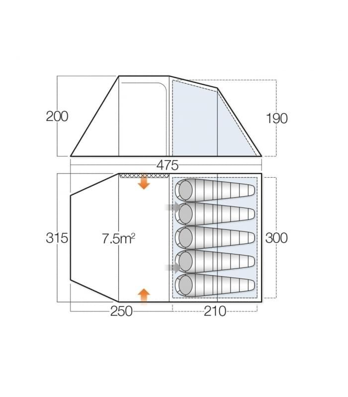 Vango Beta 550 XL / 5 Persoons Tent