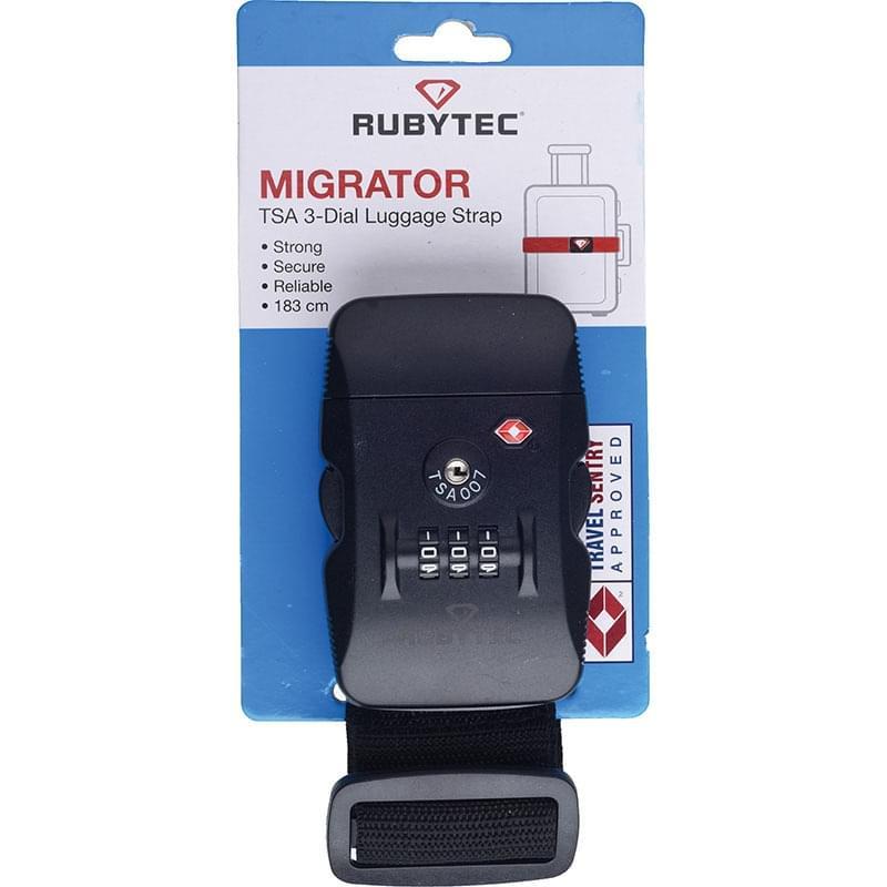 Rubytec Migrator TSA 3 Dial Luggage Strap Black