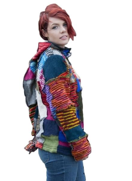 Pure Wool Damesvest Multi Gebreid