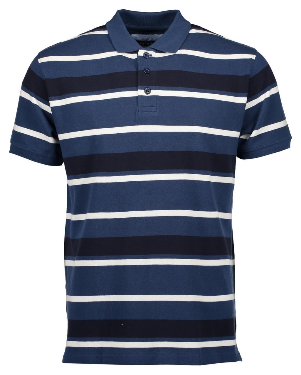 Blue Seven Stripe Polo Heren