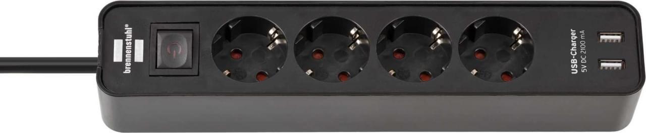 Brennenstuhl Ecolor 4-Voudige Stekkerdoos met USB