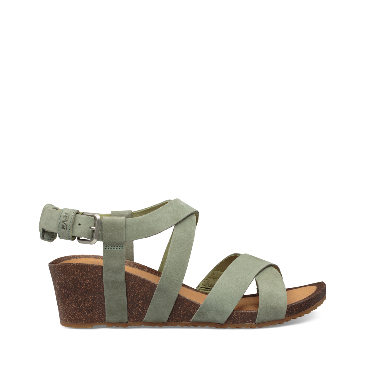 Teva Mahonia Wedge Cross Strap Sandaal Dames Groen
