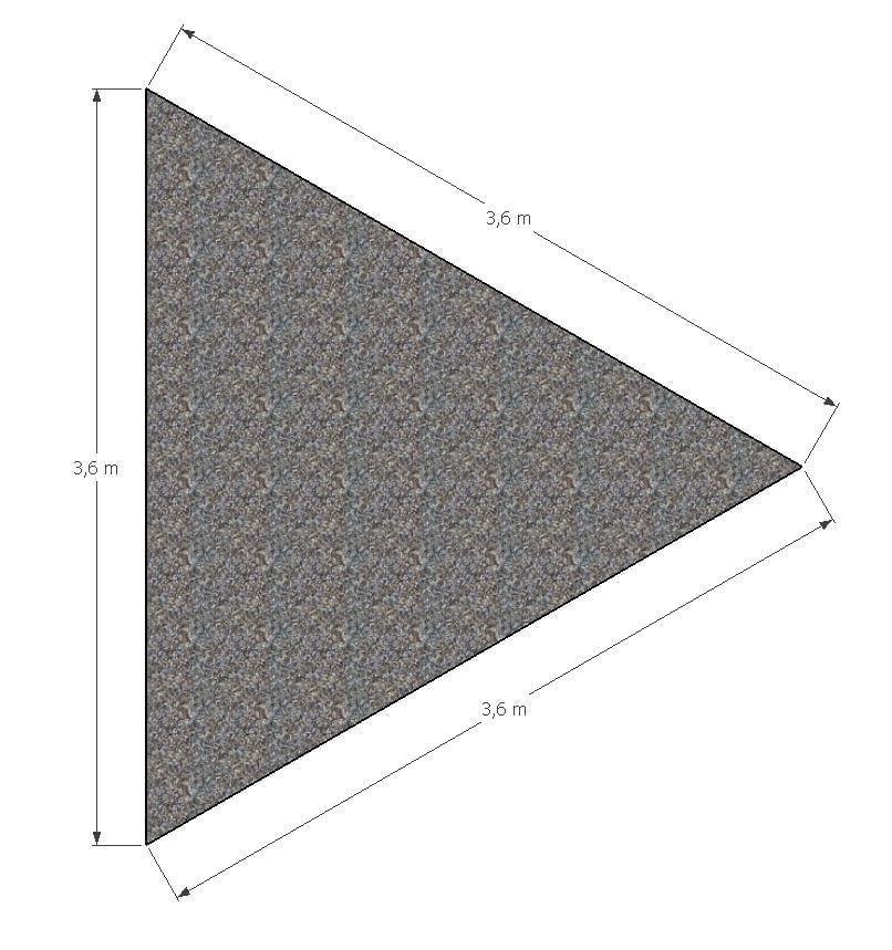 ML Schaduwdoek Driehoek 3,6 x 3,6 x 3,6 m - Grijs
