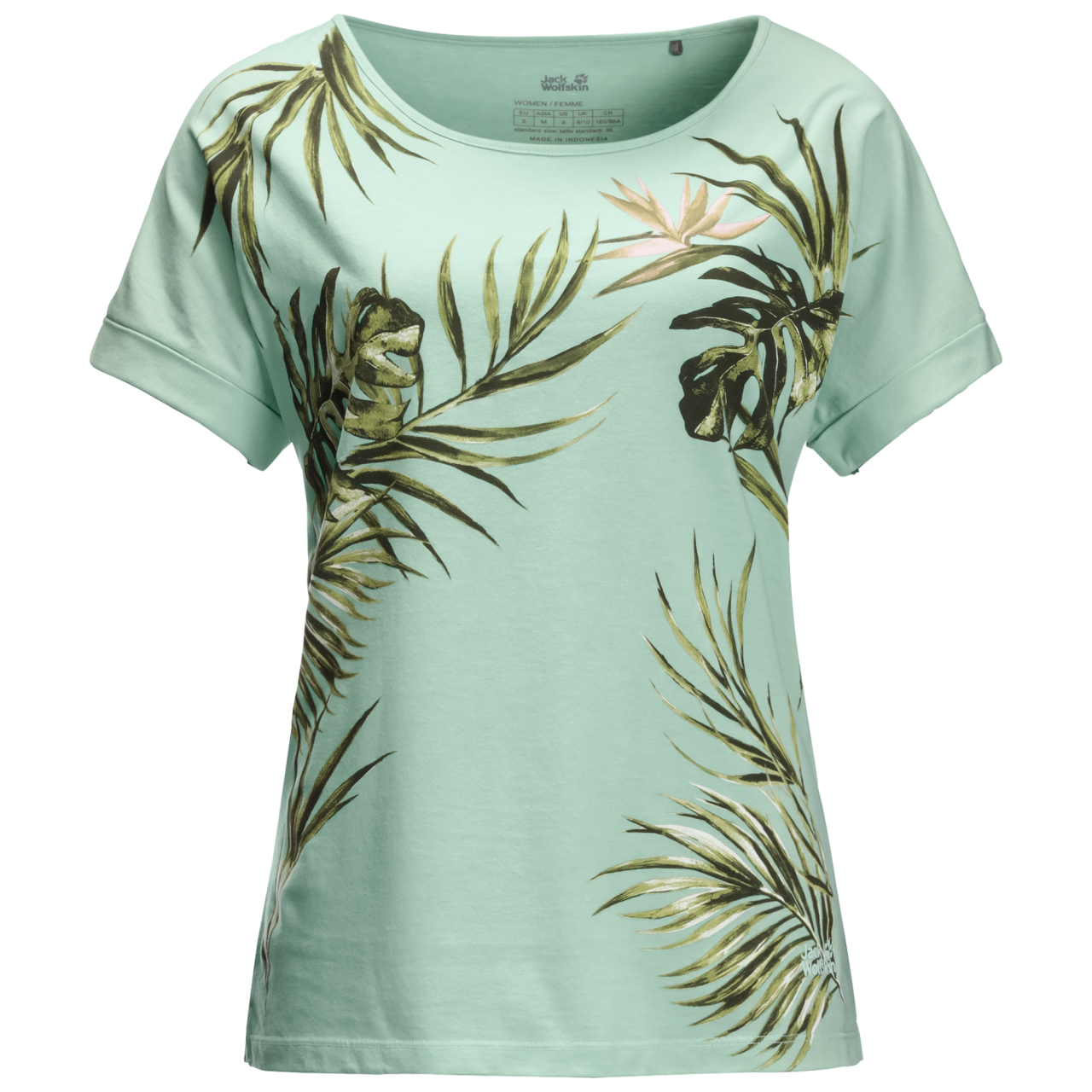 Jack Wolfskin Tropical Leaf T-Shirt Dames Groen