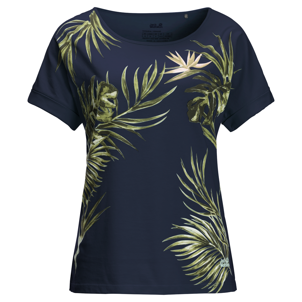 Jack Wolfskin Tropical Leaf T-Shirt Dames Blauw
