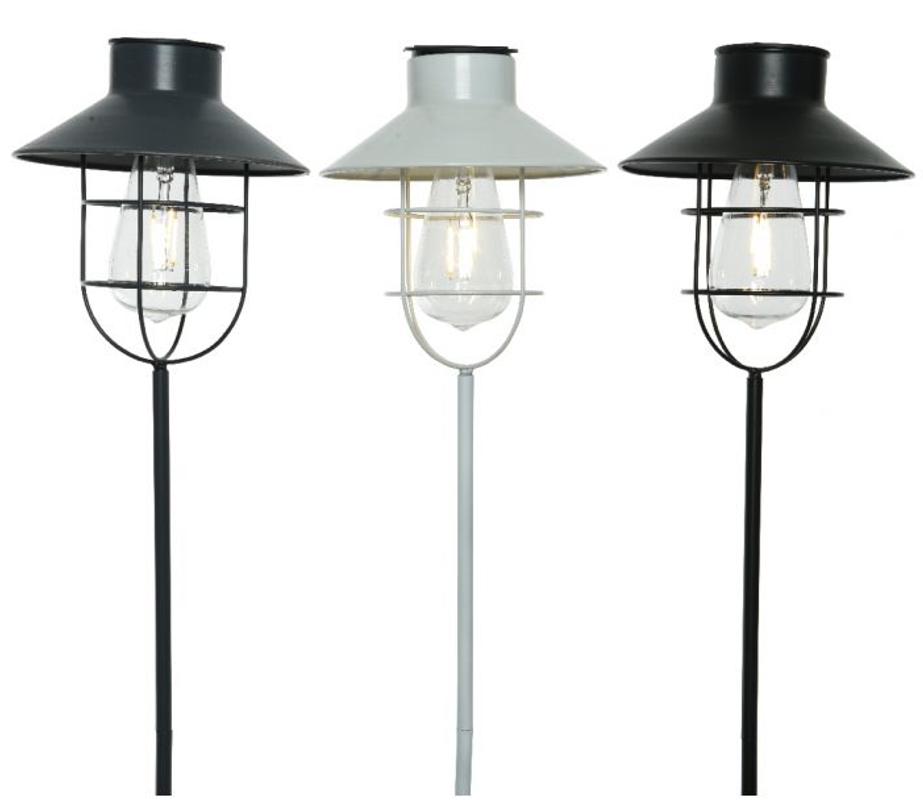 Decoris LED solar stalsteker 3ass buit dia18x65cm-1L warm wit