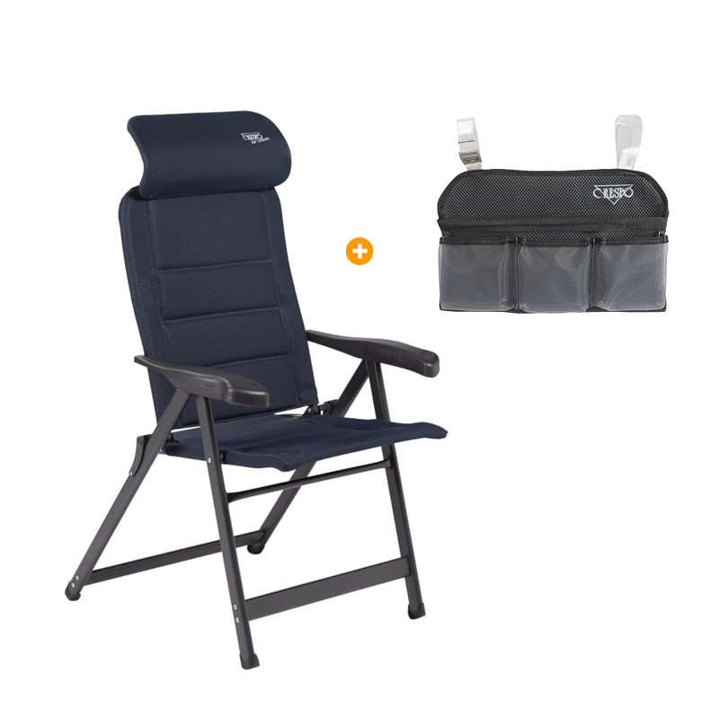 Crespo AP 237 Air deLuxe Compact Campingstoel + GRATIS Organizer Blauw