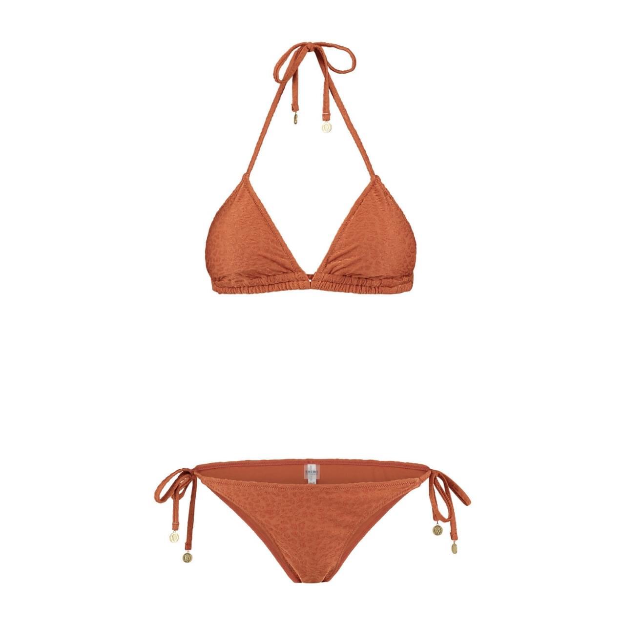 SHIWI Textured Leopard Triangle Bikini Dames Bruin