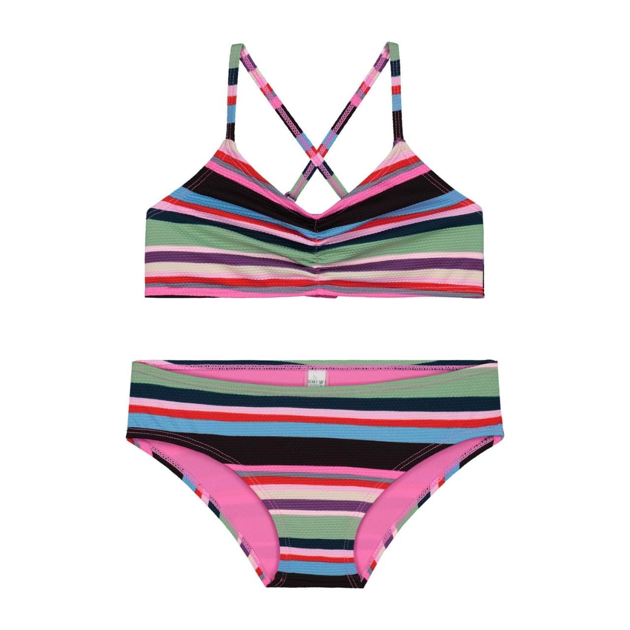 SHIWI Mod Stripe Scoop Top Bikini Kids Multicolor