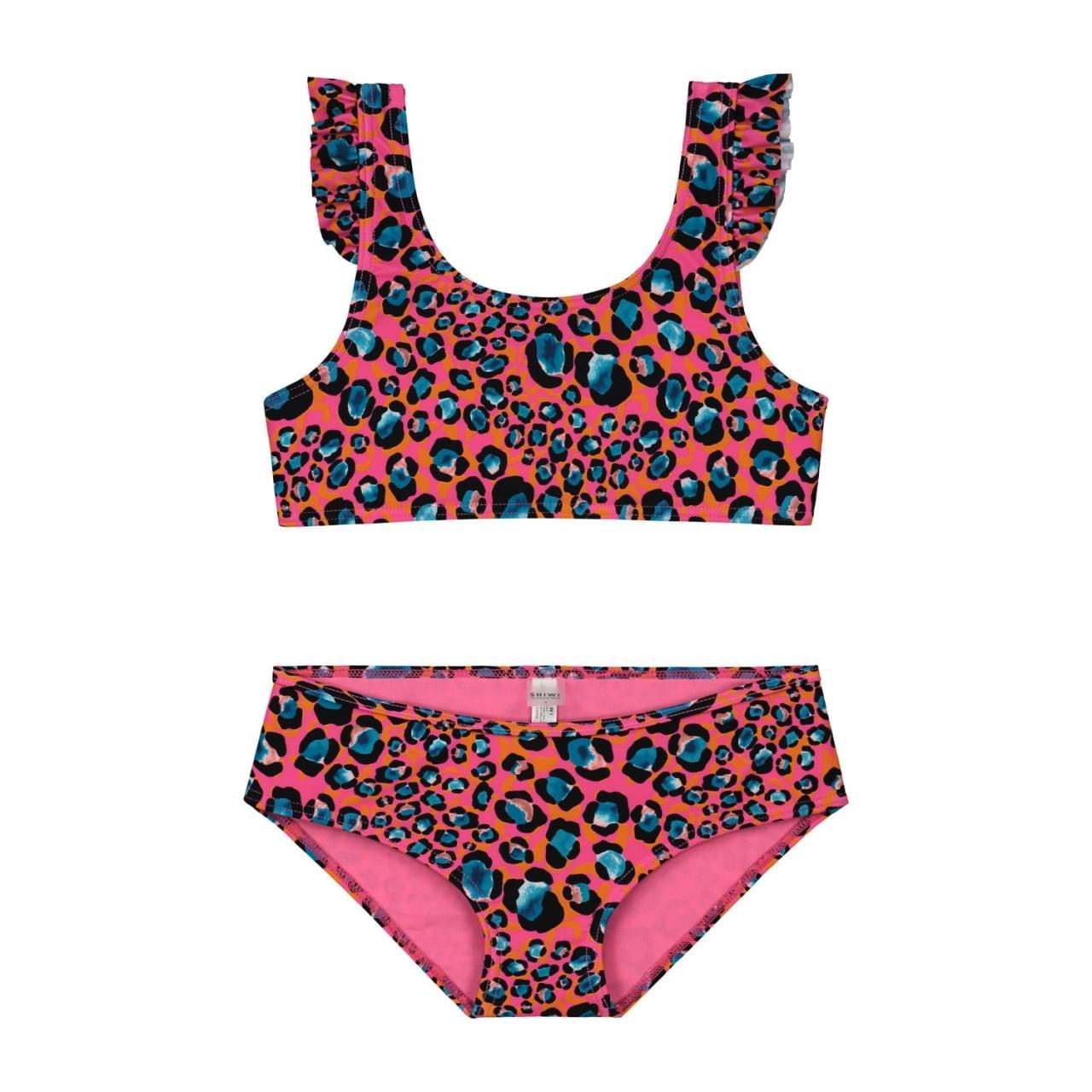 SHIWI Leopard Spot Scoop Top Bikini Kids Roze