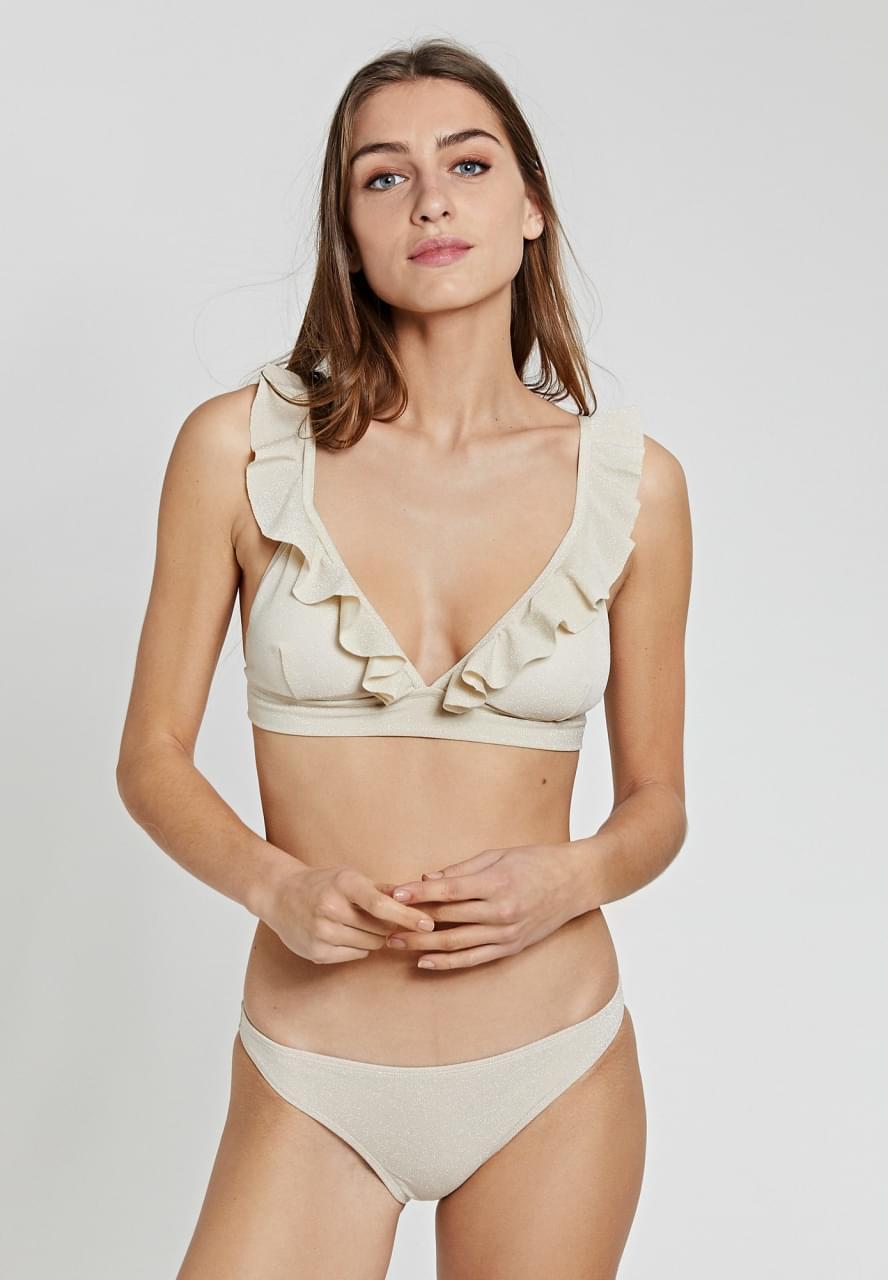 SHIWI Glitter Bobby Ruffle Triangle Bikini Dames Wit