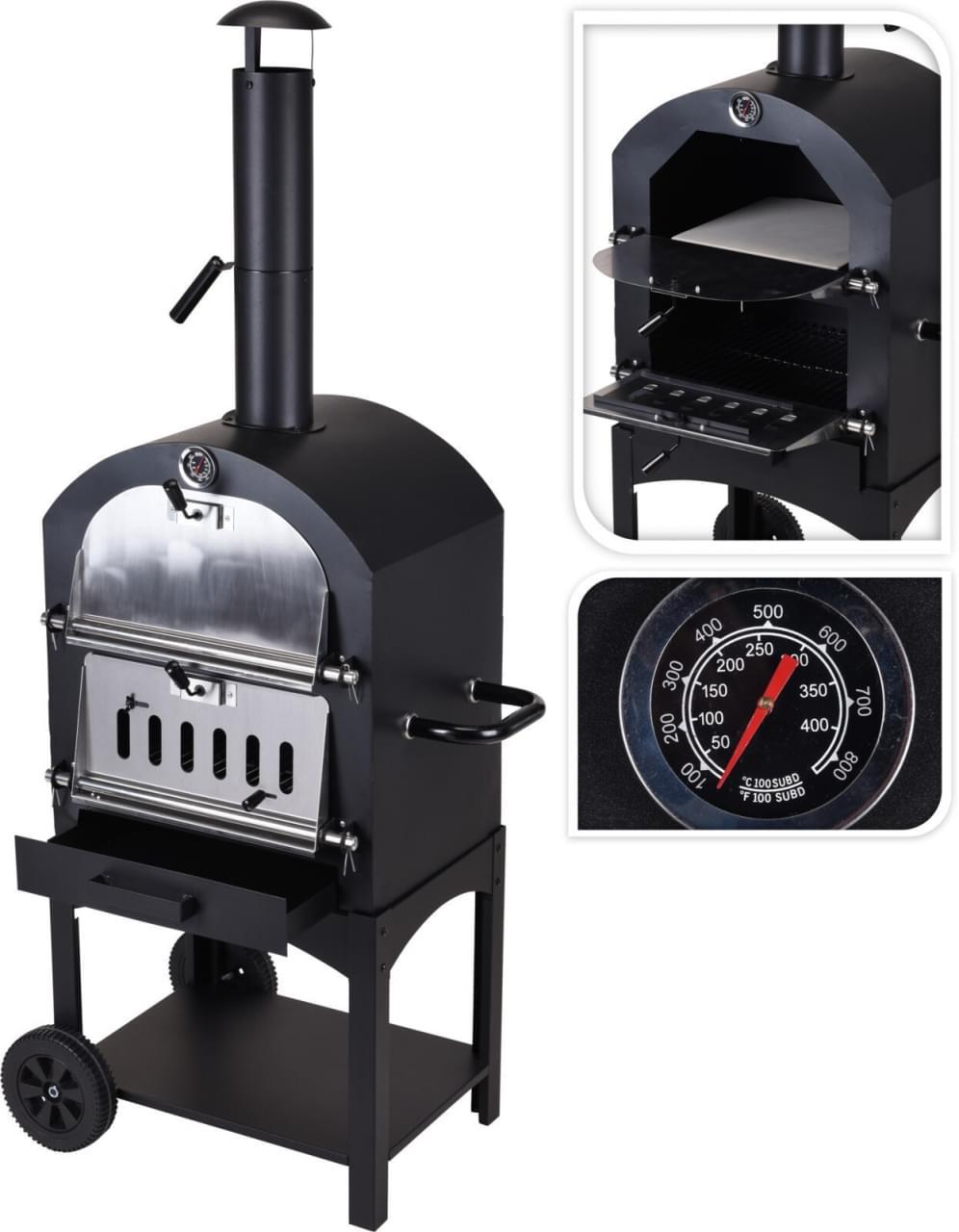 ML Bbq en Pizza Oven in 1 Houtskool Barbecue
