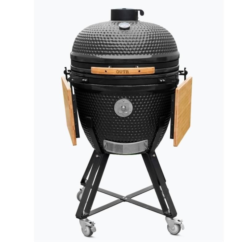 Outr Extra Large Kamado Barbecue met onderstel en side tables Zwart