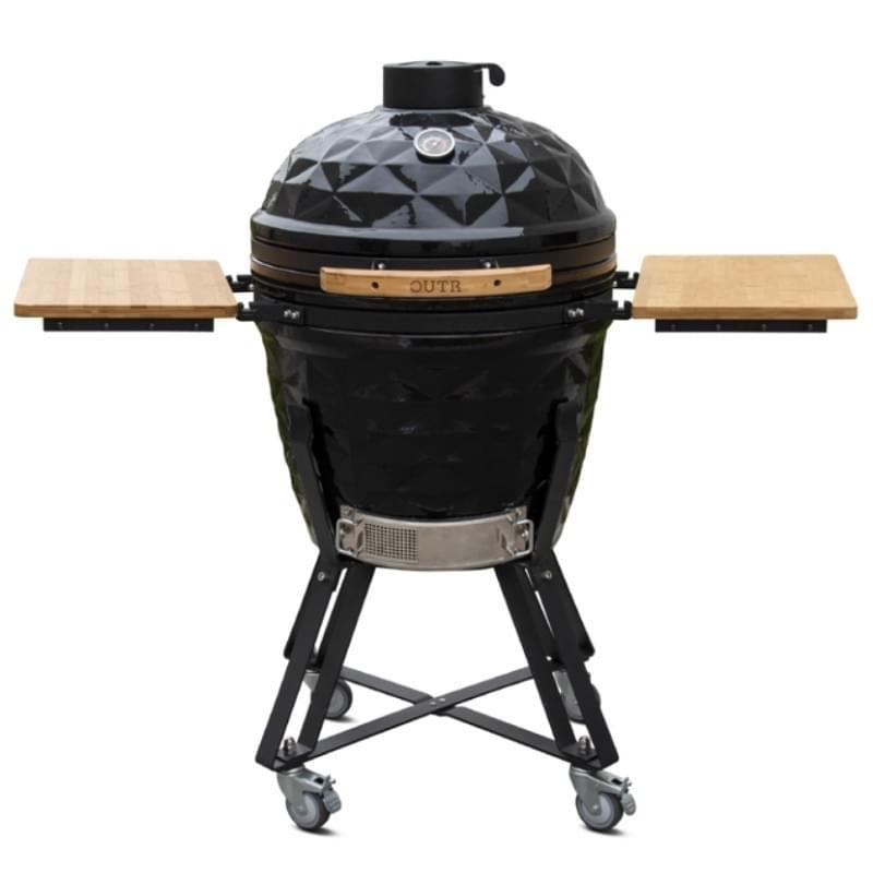 Outr Large Diamond 56 Kamado Barbecue met onderstel en side tables Donkergrijs