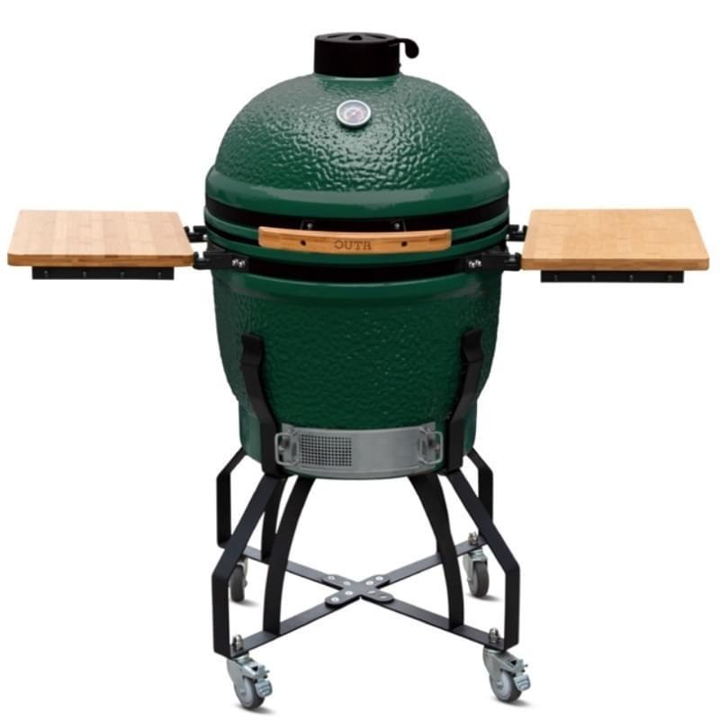 Outr Large Kamado Barbecue met onderstel en side tables Groen